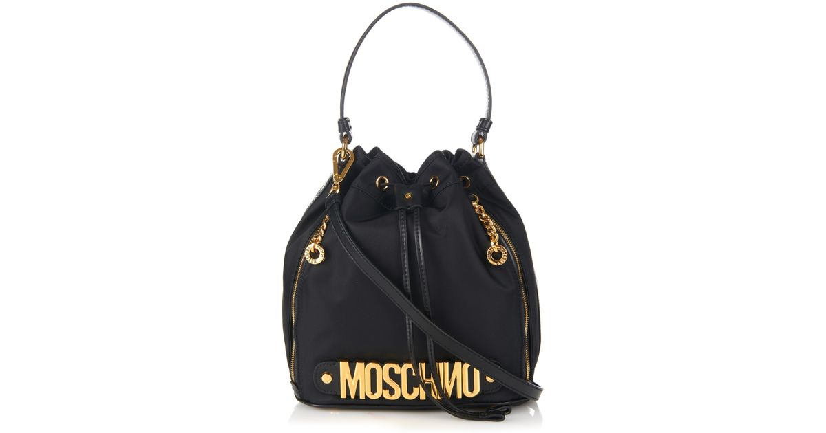 09cb685a62c Moschino Lettering Leather And Nylon Bucket Bag in Black - Lyst