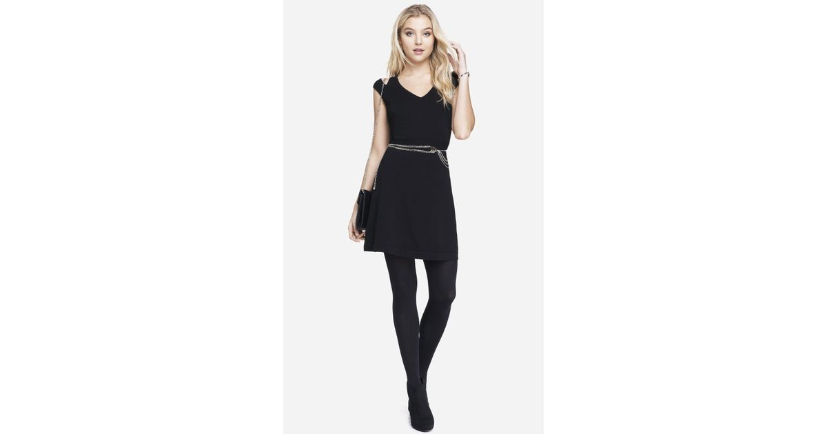 741248a3ef4 Lyst - Express Cut-Out Shoulder Fit And Flare Sweater Dress in Black