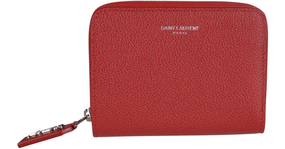 Saint laurent Rive Gauche Small Zip Around Wallet in Red | Lyst