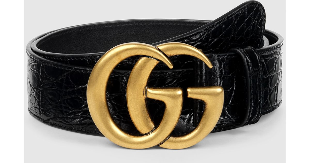 edade232f7c Lyst Gucci Crocodile Belt With Double G Buckle In Black For Men