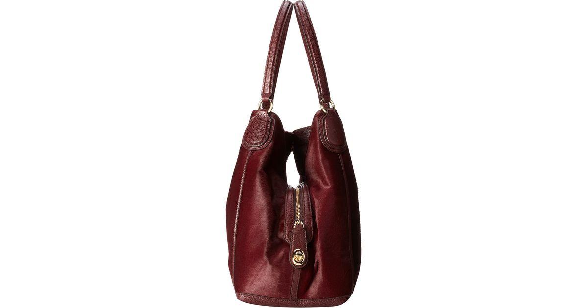 91e425bf4ab11 ... order lyst coach haircalf large edie shoulder bag in purple b38f9 932ed