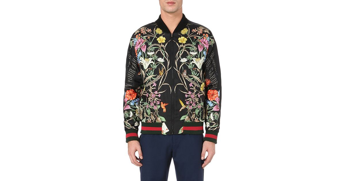 3aa3f0811 Gucci Floral-print Embroidered Silk Bomber Jacket in Black for Men - Lyst