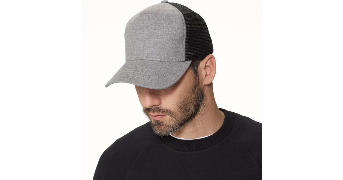 Lyst - James Perse Cotton Flannel Trucker Hat in Gray for Men 029c9b4ec32