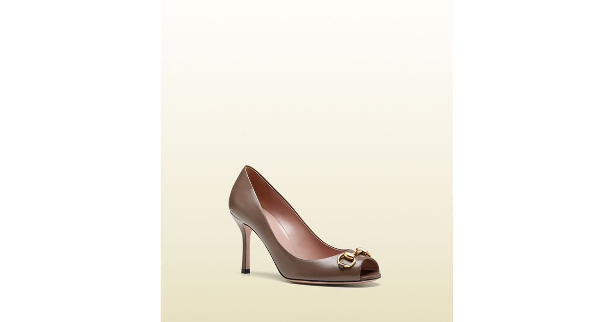3c247c09ec6 Lyst - Gucci Jolene Leather Midheel Pump in Brown