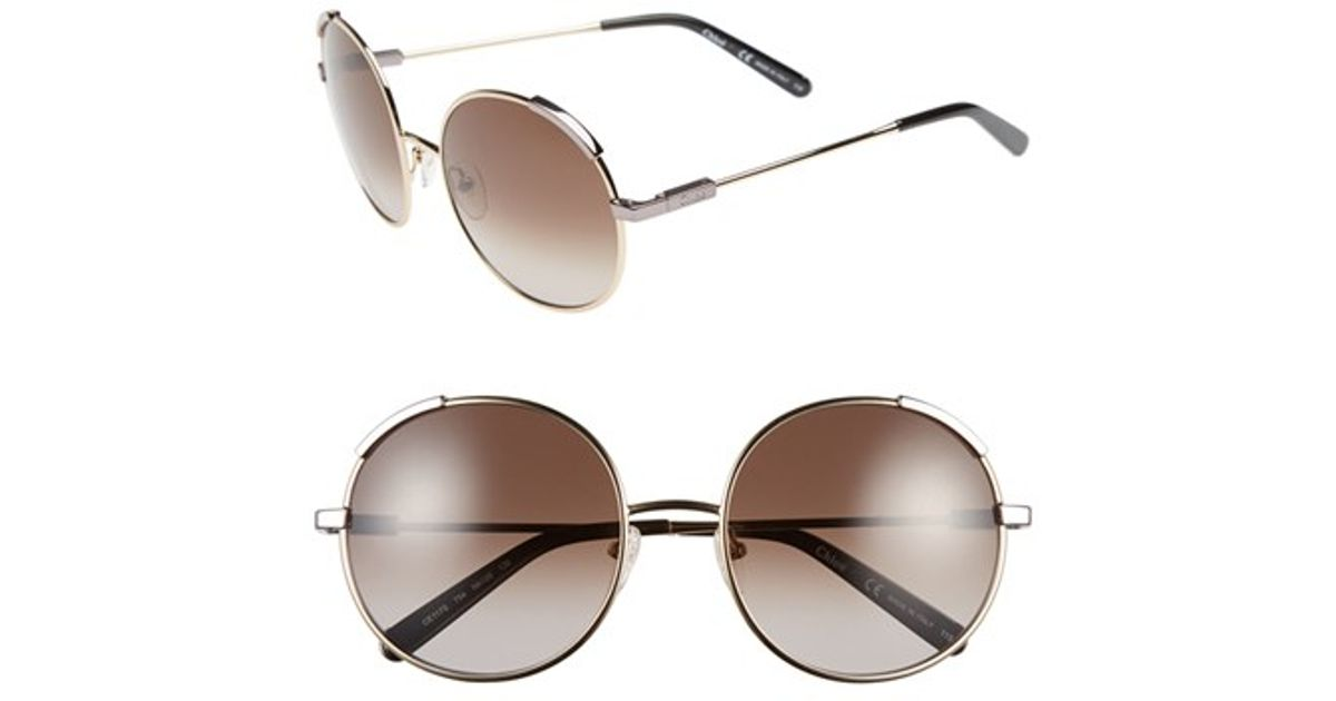 6906565b3d23 Lyst - Chloé  nerine  56mm Round Sunglasses - Light Gold  Khaki in Metallic