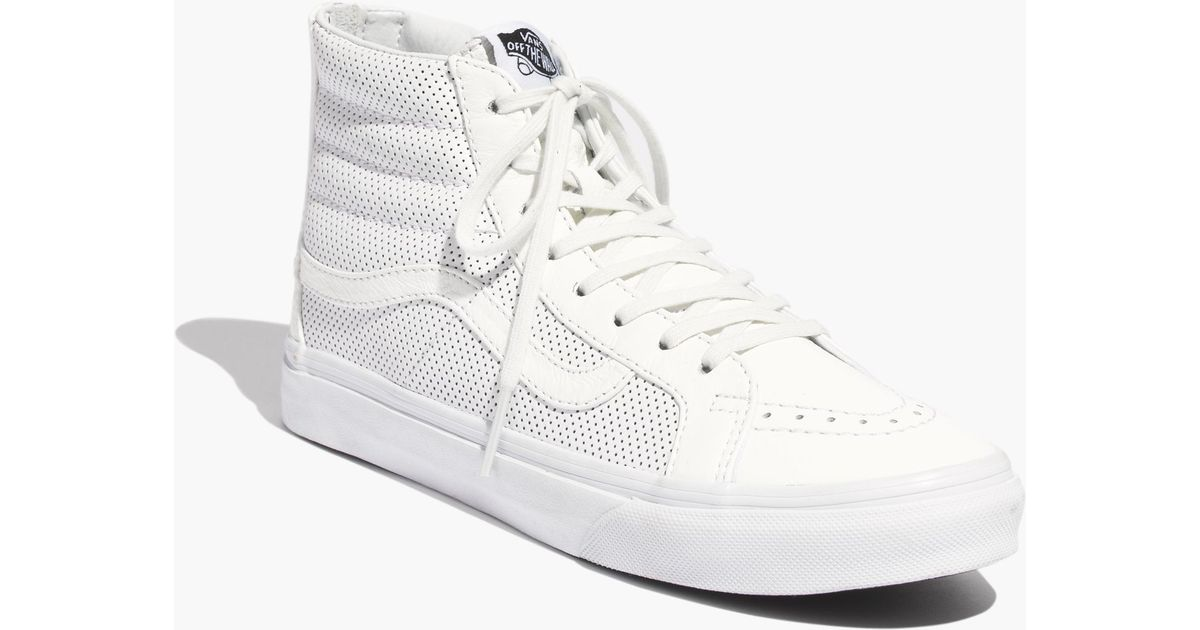 89307ba341f533 Lyst - Madewell Vans® Sk8-Hi Slim Zip High-Top Sneakers In Perforated  Leather in White