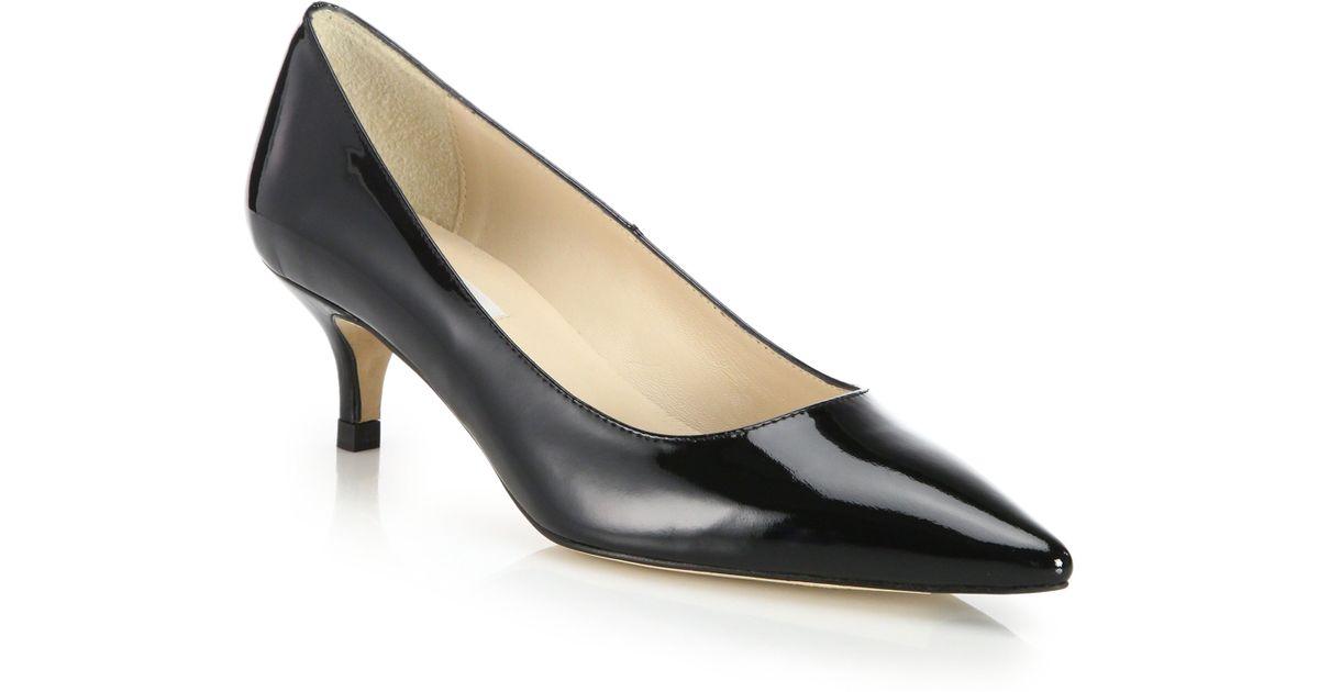L K Bennett Minu Patent Leather Kitten Heel Pumps In Black