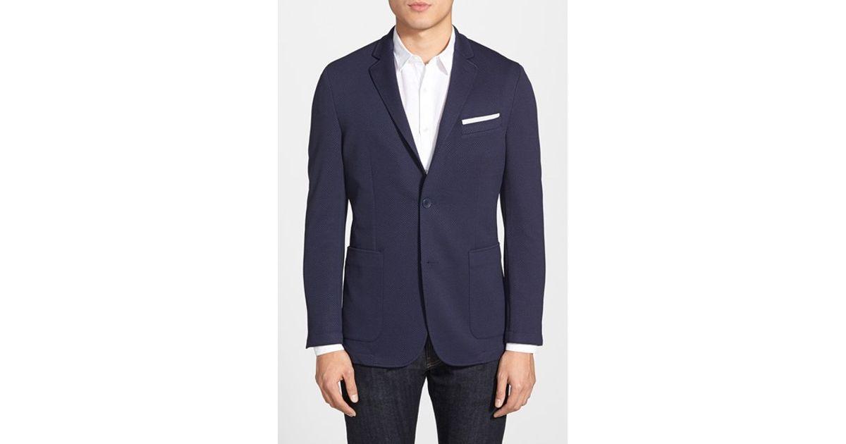 vince camuto slim fit stretch knit blazer in blue for men. Black Bedroom Furniture Sets. Home Design Ideas