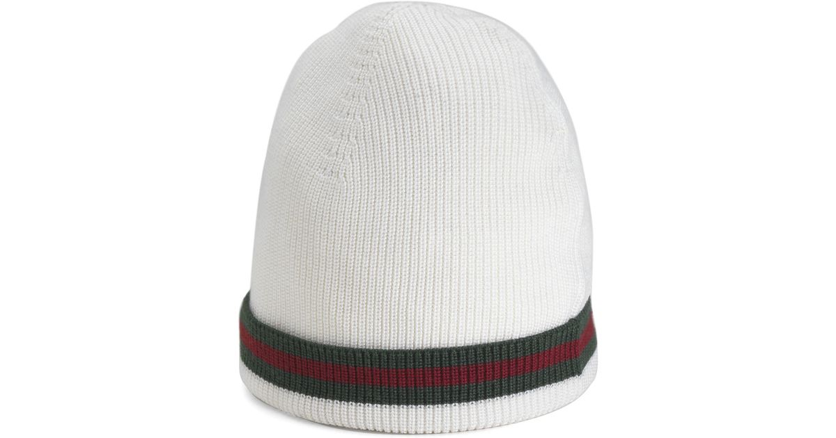 0ee8cd59e0b Lyst - Gucci Crook Knit Hat in White for Men