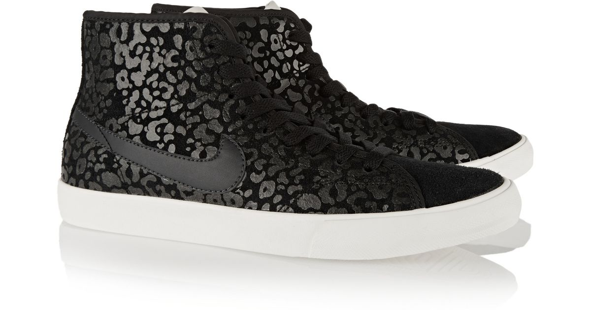 Nike Primo Court Leopard-print Suede High-top Sneakers in Black - Lyst adc7d26deda