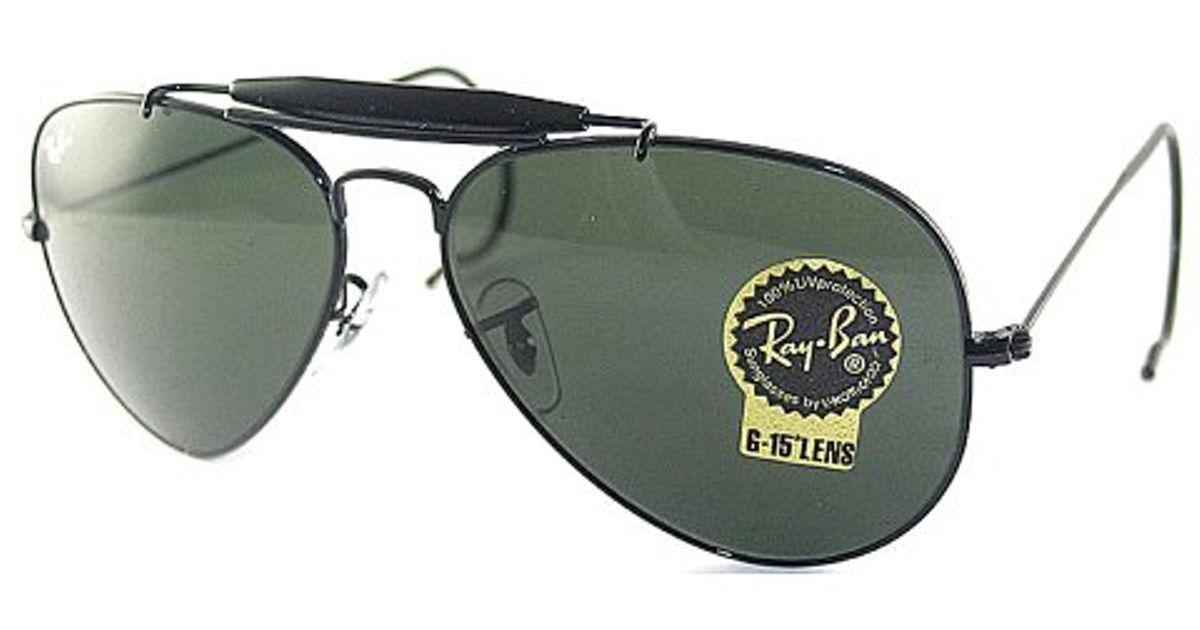 bf3f56415ca ... ireland lyst ray ban ray ban rb3030 outdoorsman black metal aviator  l9500 sunglasses crystal green lens