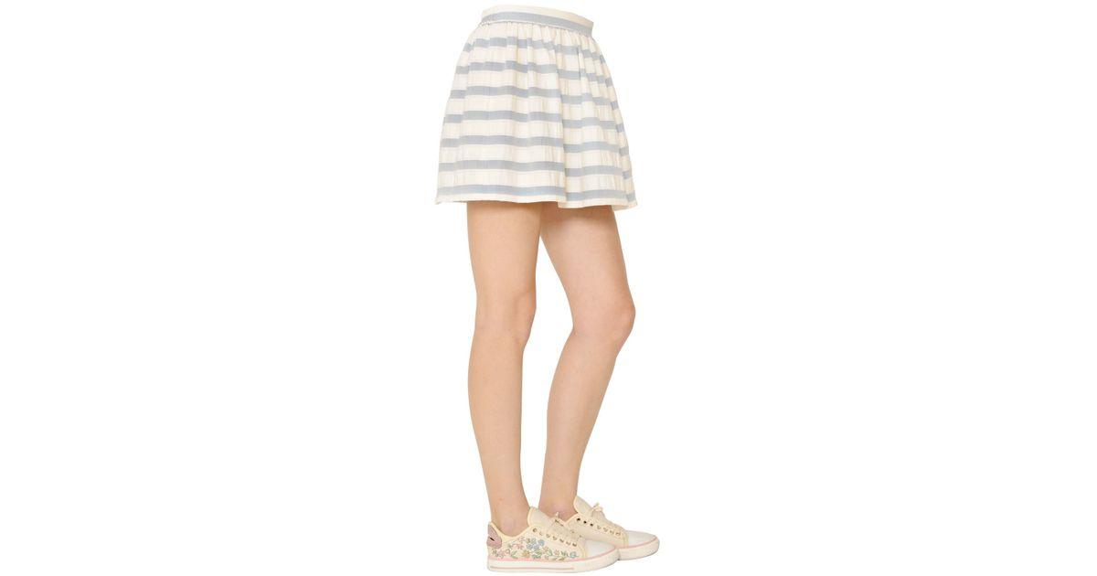 valentino striped cotton jacquard skirt in blue blue
