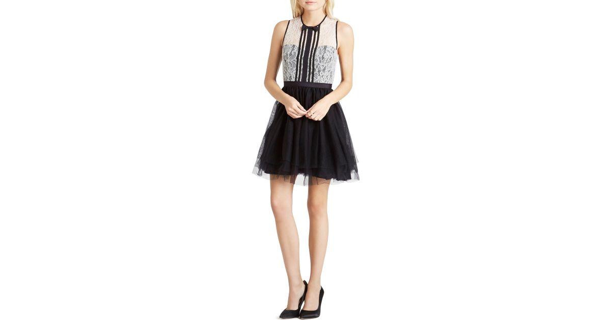 Bcbgeneration drop waist dress with ruffles in black