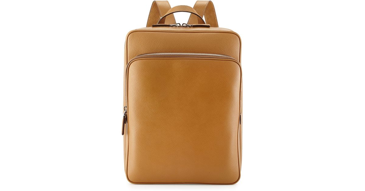 fb60193e14a0 Lyst - Prada Saffiano Cuir Slim Backpack in Brown for Men