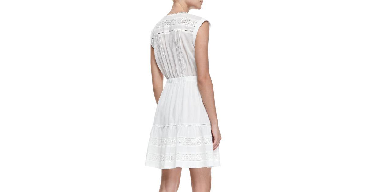 c51482efb55063 Rebecca Taylor Novelty Cotton Eyelet Short Sleeve Dress in White - Lyst
