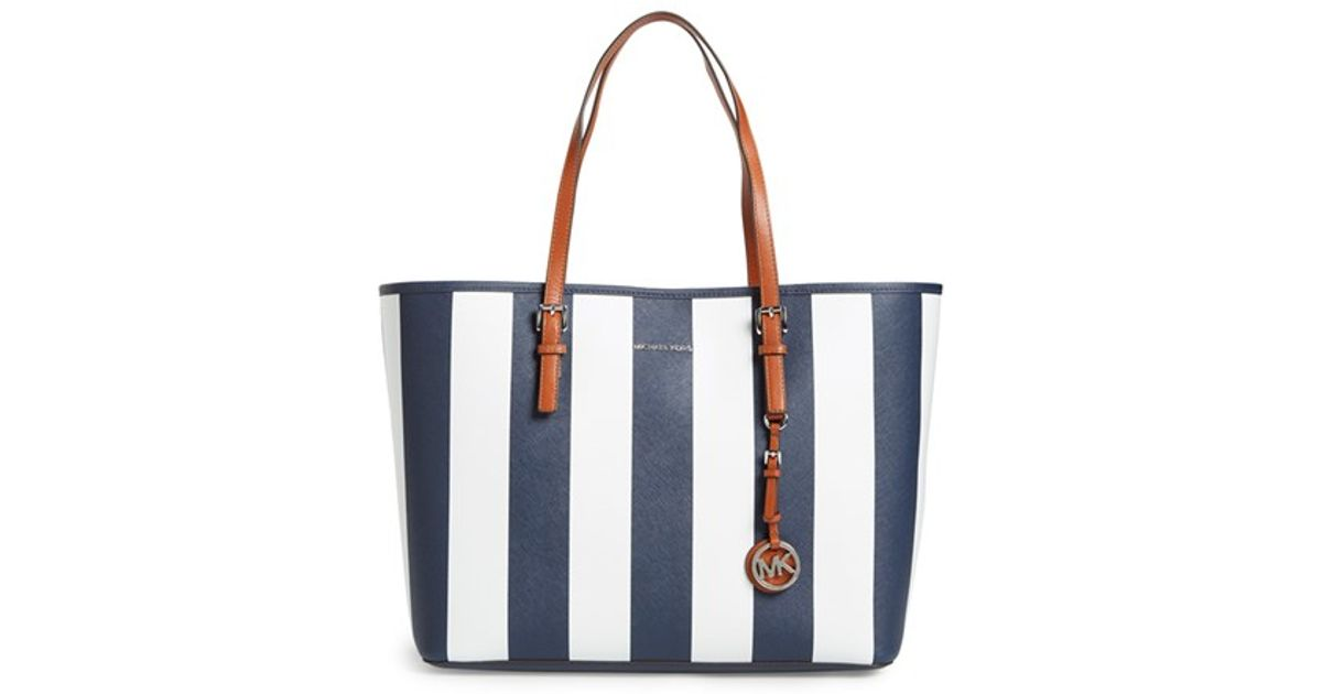 073f6b966f4c MICHAEL Michael Kors 'medium Jet Set - Stripe' Leather Travel Tote in Blue  - Lyst