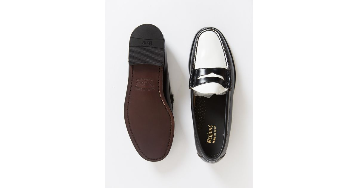 c34b2582030 Lyst - G.H.BASS G.h Bass Weejuns Two Tone Penny Loafer Black White in Black  for Men