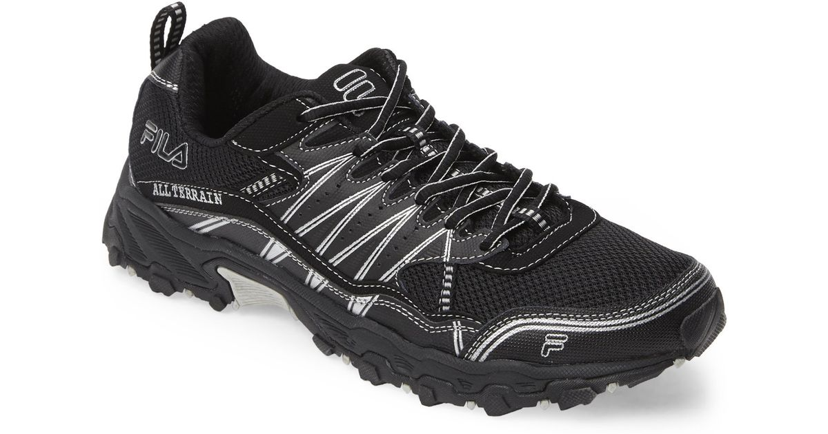 fila black silver all terrain tractile running sneakers