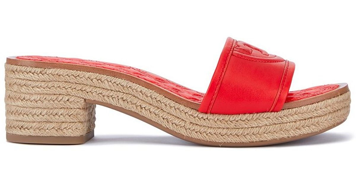 67b3bd9555d Lyst - Tory Burch Fleming Espadrille Slide in Red