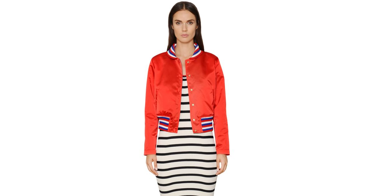 Tommy Hilfiger Tommy Patch Nylon Satin Bomber Jacket In Red Lyst