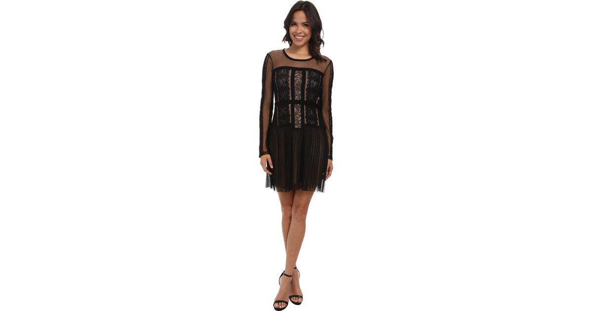 Lyst Bcbgmaxazria Stef Lace Blocked Long Sleeve Dress In Black