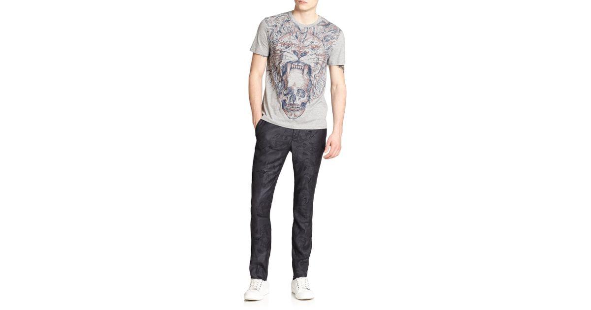 5e8835ed Lyst - Alexander McQueen Lion Print Cotton Tee in Gray for Men