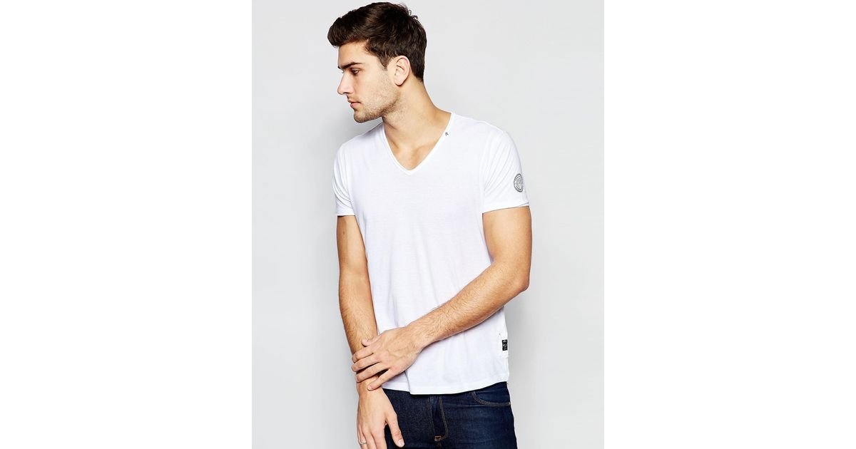 Replay T Shirt Deep V Neck Laser Cut In White In White For