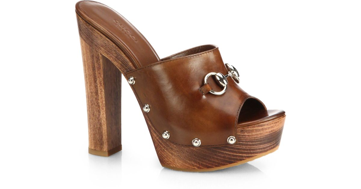 824708830 Gucci Morena Leather Clogs in Brown - Lyst