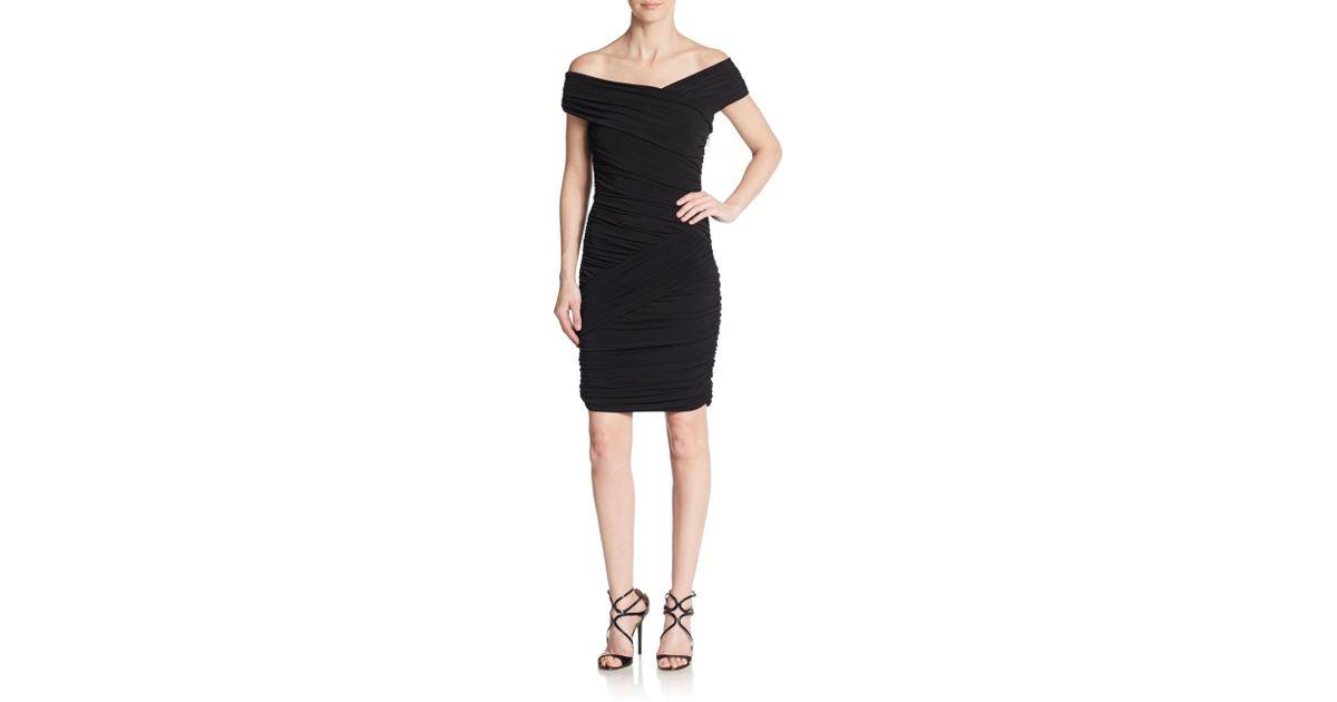 Lyst Nicole Miller Ruched Off The Shoulder Dress In Black