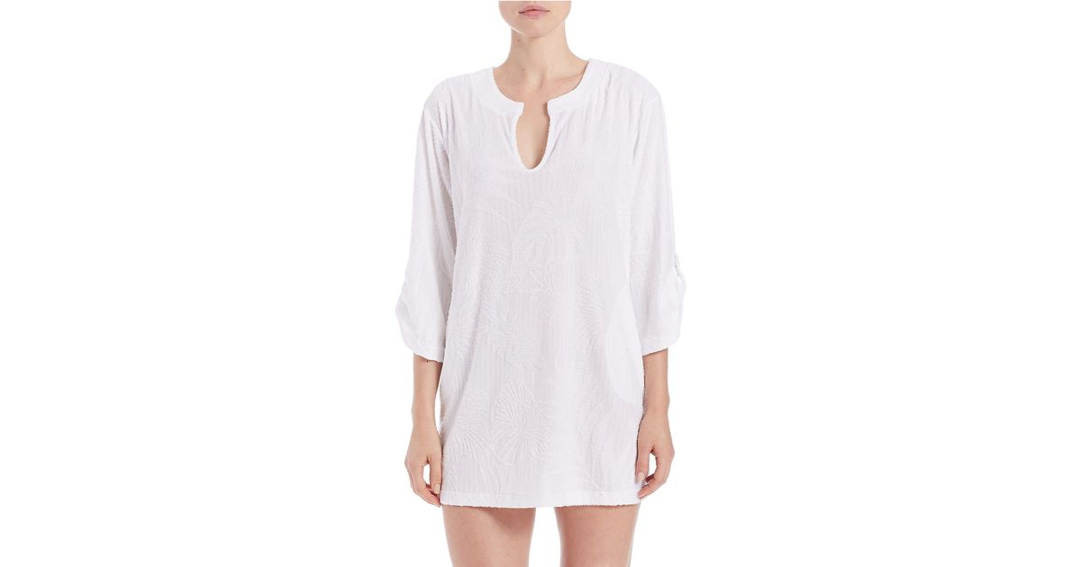 c9b559d0faa58 Lyst - J Valdi Plus Sculpted Terry Roll Sleeve Tunic in White