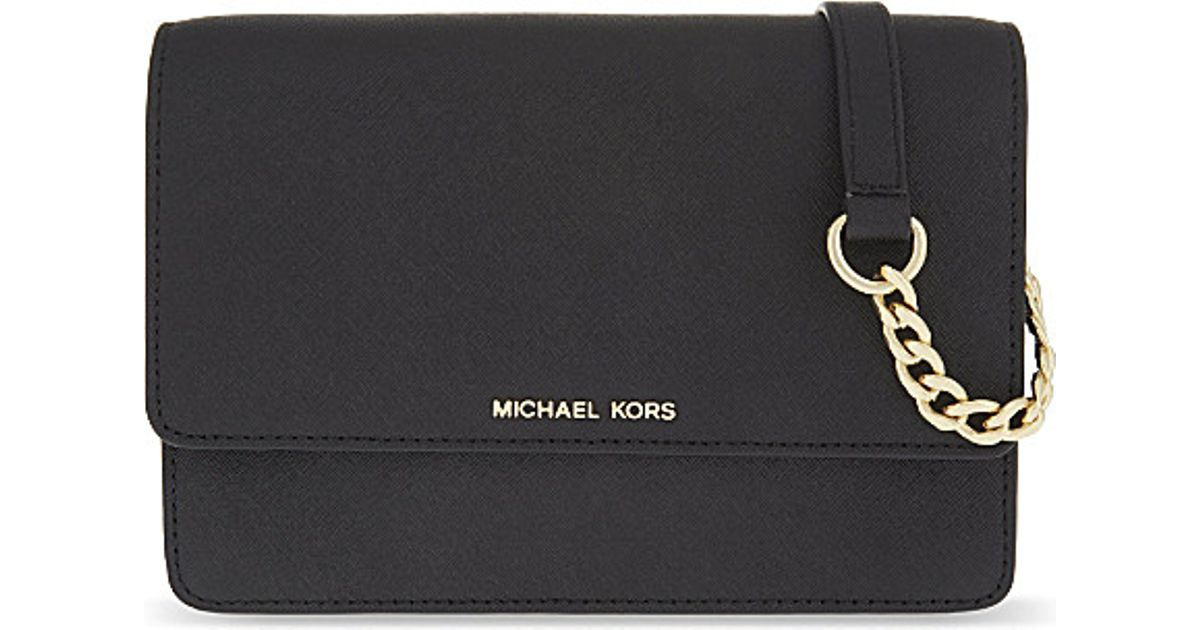 Lyst - MICHAEL Michael Kors Daniela Small Leather Cross-body Bag in Black b3058395b624b
