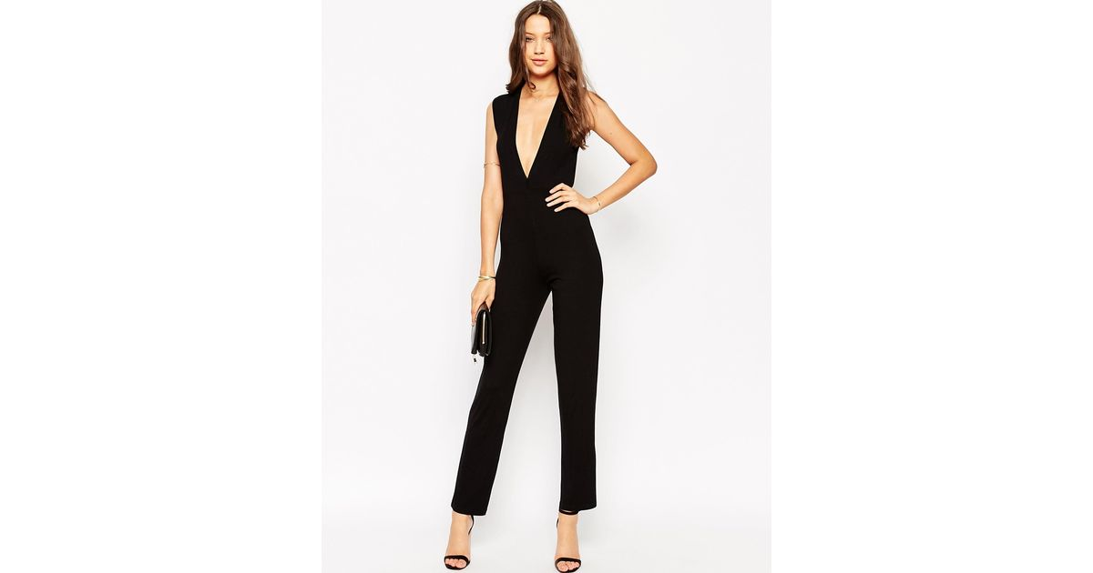 a8e39bc095 Lyst - ASOS Plunge Sleeveless Jumpsuit in Black