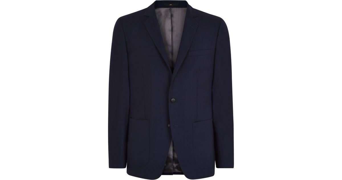 jaeger textured cotton slim fit blazer in blue for men lyst. Black Bedroom Furniture Sets. Home Design Ideas