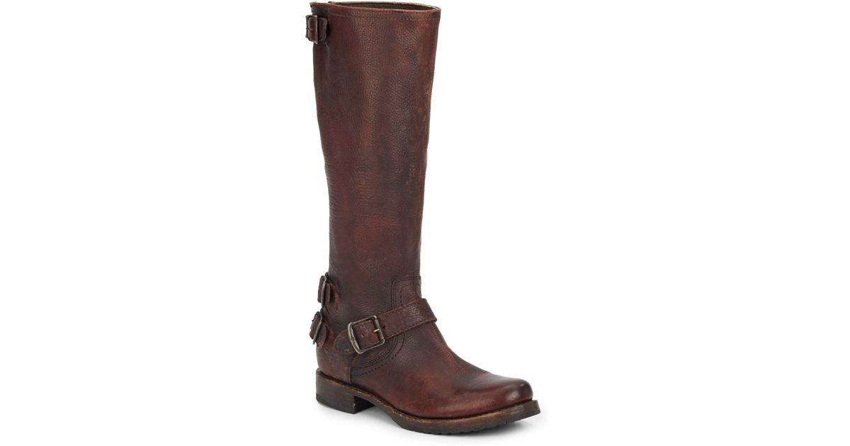 frye knee high leather buckle boots in brown