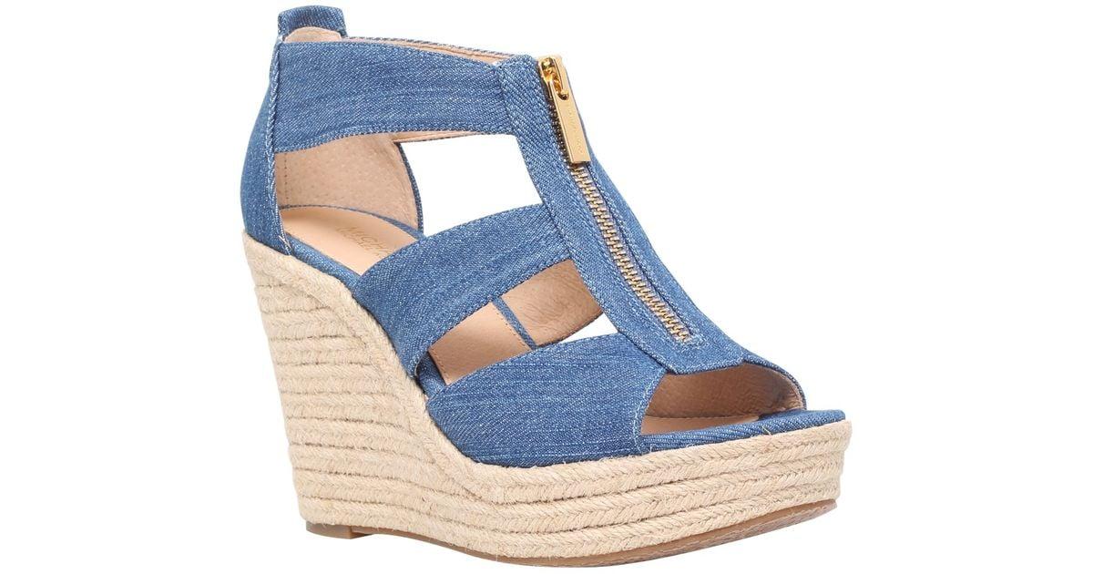 Michael Kors Damita High Wedge Heeled Sandals In Blue Denim