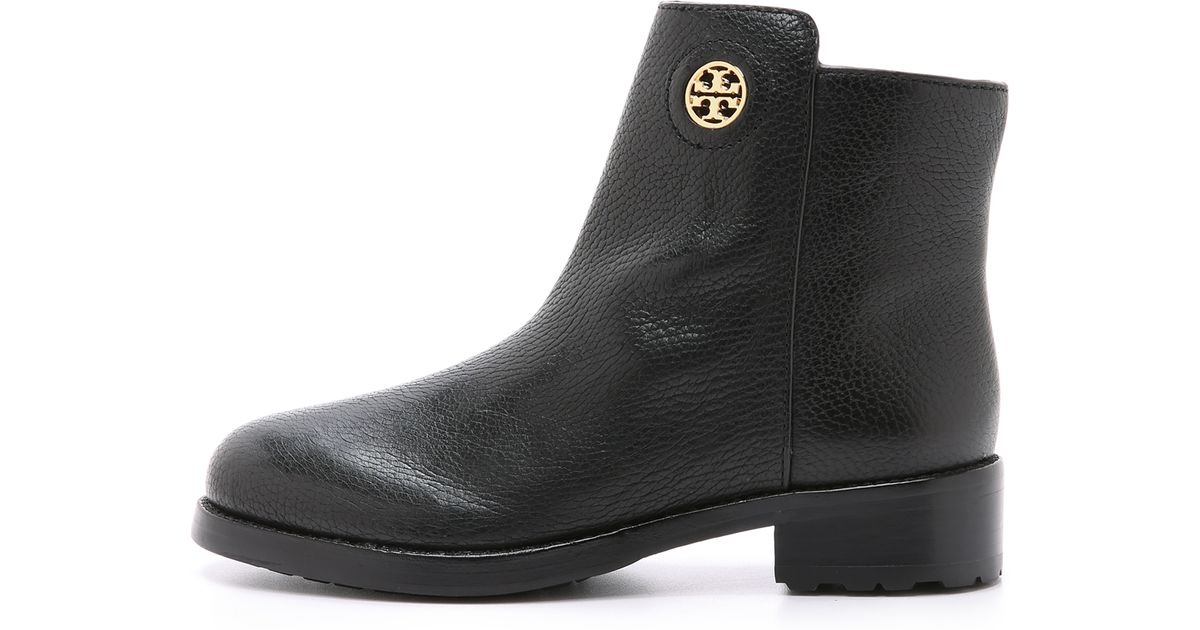 156bc90d2ff9c ... leather ballerina flats 97c8c 6824e  best price lyst tory burch  junction booties porcini in black 37838 04f83