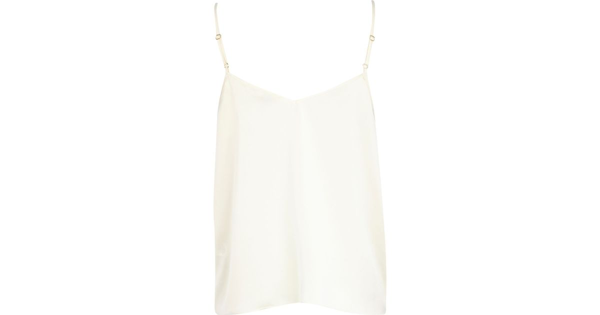 e10ce018ef8 River Island Cream Strappy Satin Cami Top in White - Lyst