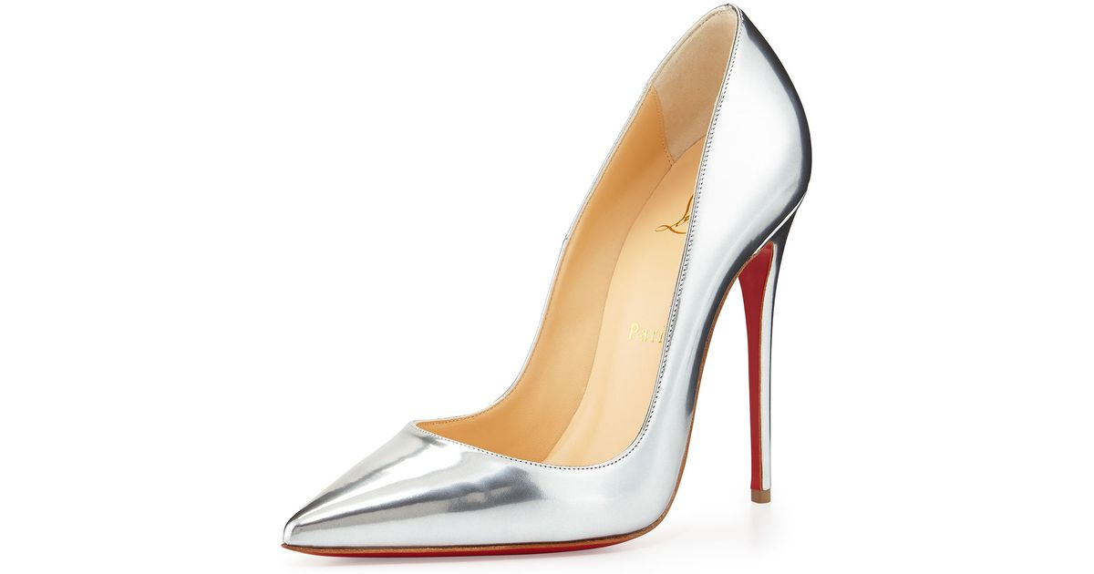 Christian louboutin So Kate Metallic Leather Pumps in Silver | Lyst