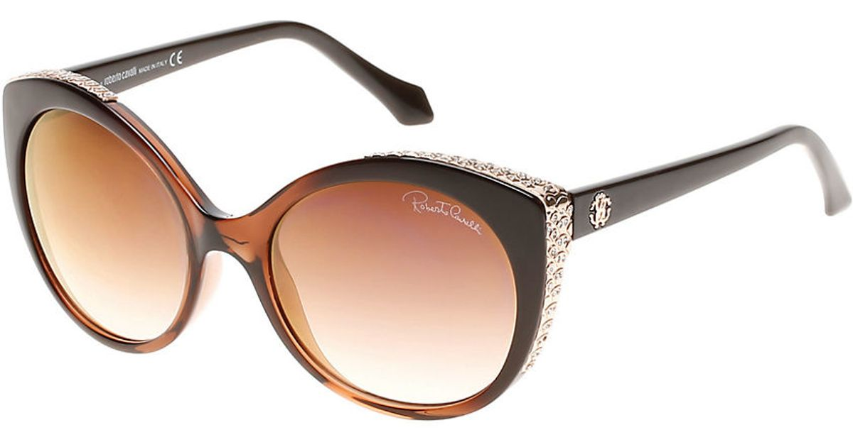 lyst roberto cavalli miram cat eye sunglasses in brown
