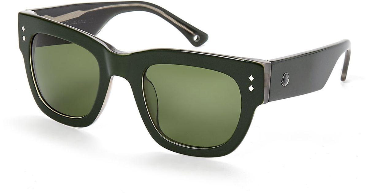 1c6d91106 Moncler Green Mc538 Thick Wayfarer Sunglasses in Black - Lyst