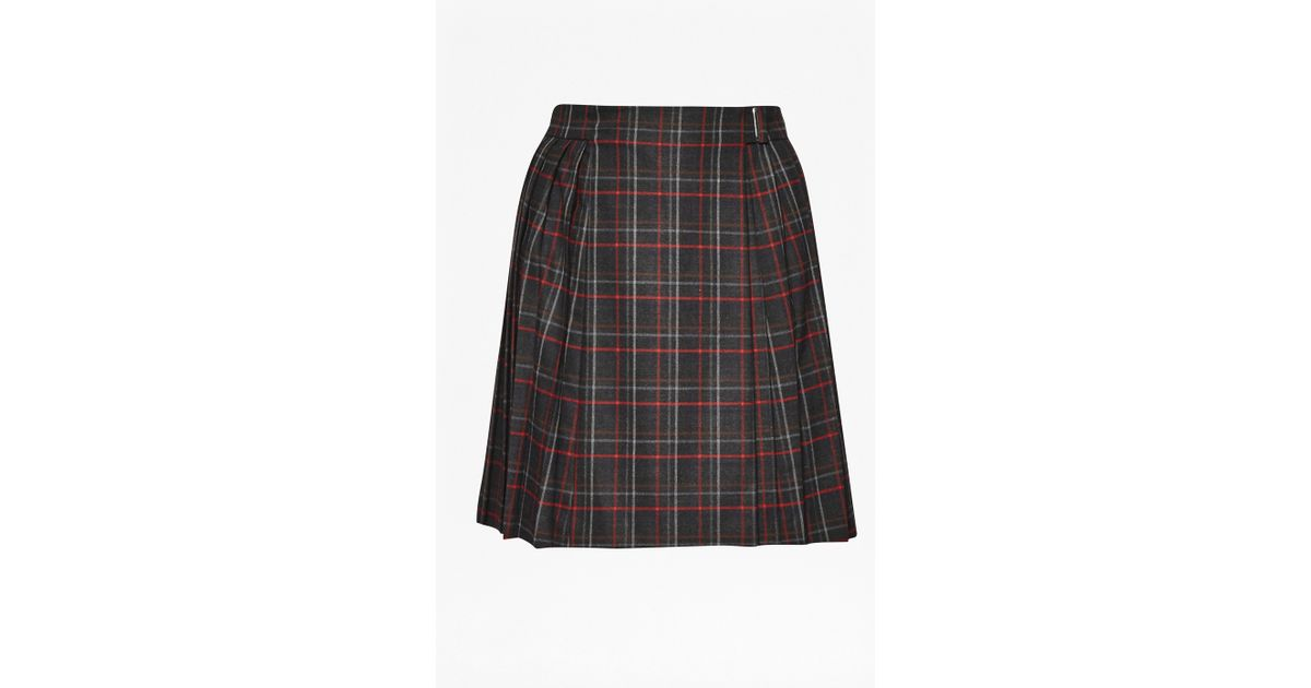 connection soho check pleated skirt in black lyst