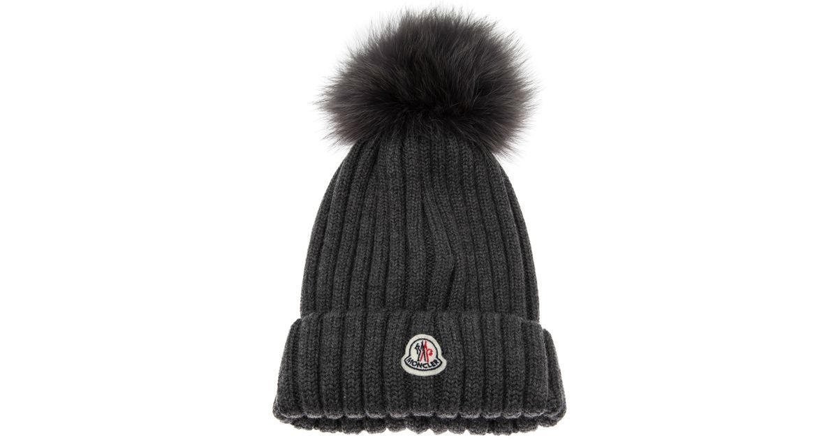 12283dc7c Lyst - Moncler Cap with Fur Pom Pom in Gray