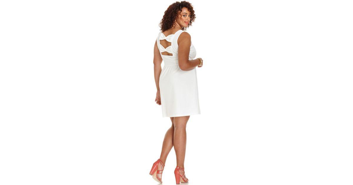 Soprano - White Plus Size Sleeveless Bowback Skater Dress - Lyst