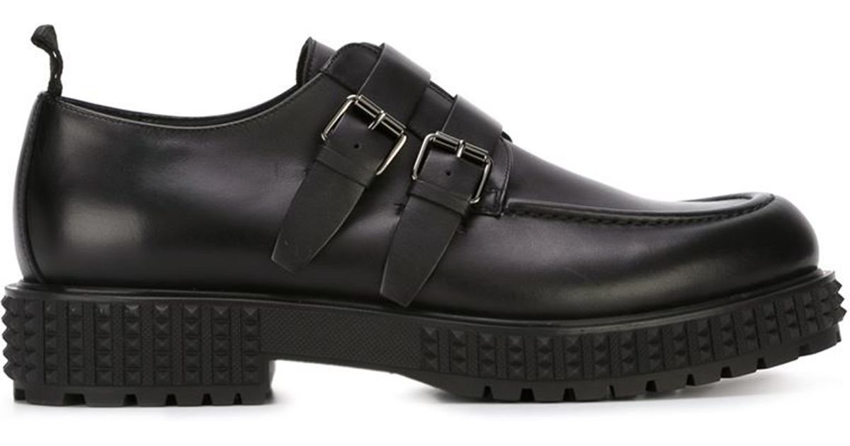 valentino studded sole monk shoes in black for lyst