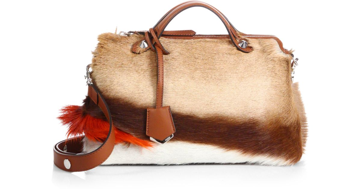 a2c6c7c06b08 Lyst - Fendi By The Way Small Fur Satchel in Brown