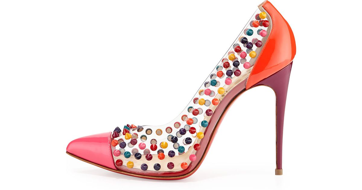 3fdac892ccb1 Lyst - Christian Louboutin Spike Me Pvc Cap-Toe Red Sole Pump in Pink