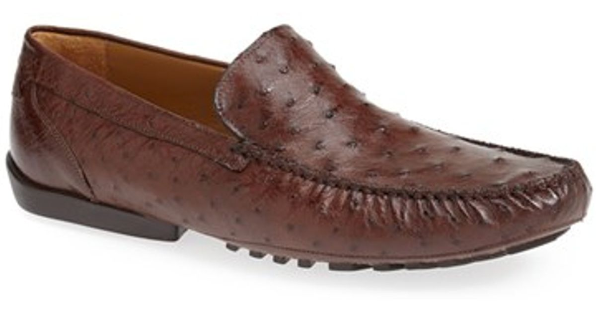 7fbca233166 Lyst - Mezlan  banff  Ostrich Leather Driving Shoe in Brown for Men