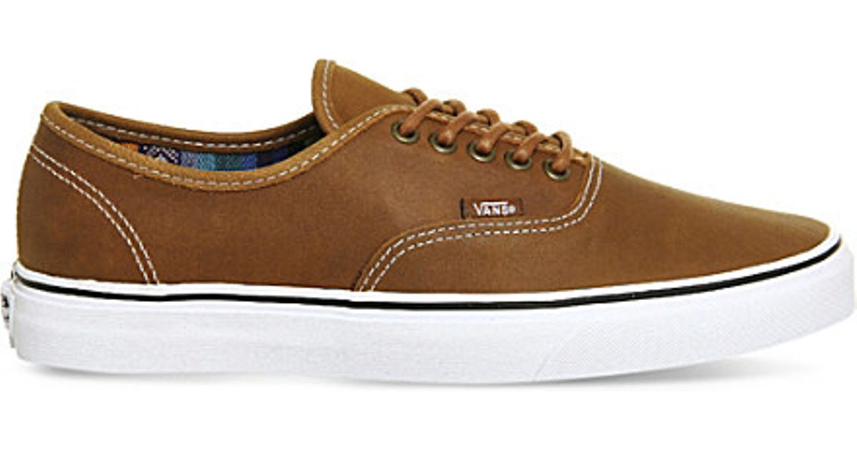 e42b6e9351 Lyst - Vans Authentic Leather Trainers in Brown