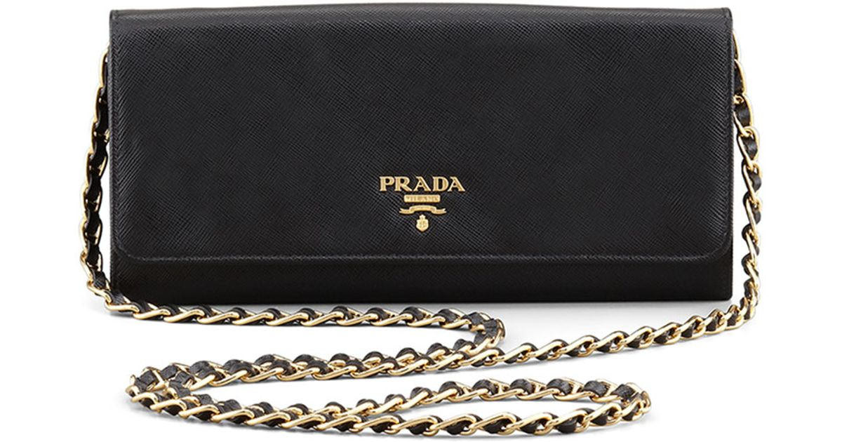 a732a558c756 Prada Saffiano Leather Wallet-on-chain in Brown - Lyst