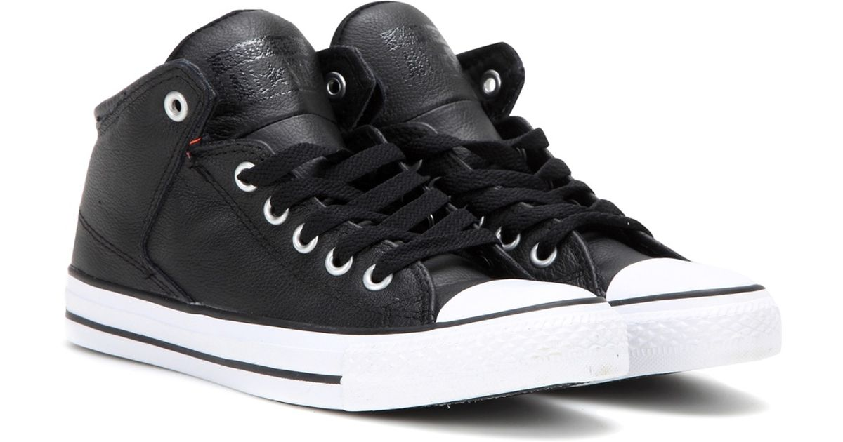 4ebf208c006b Lyst - Converse Chuck Taylor All Star High Street Leather Sneakers in Black